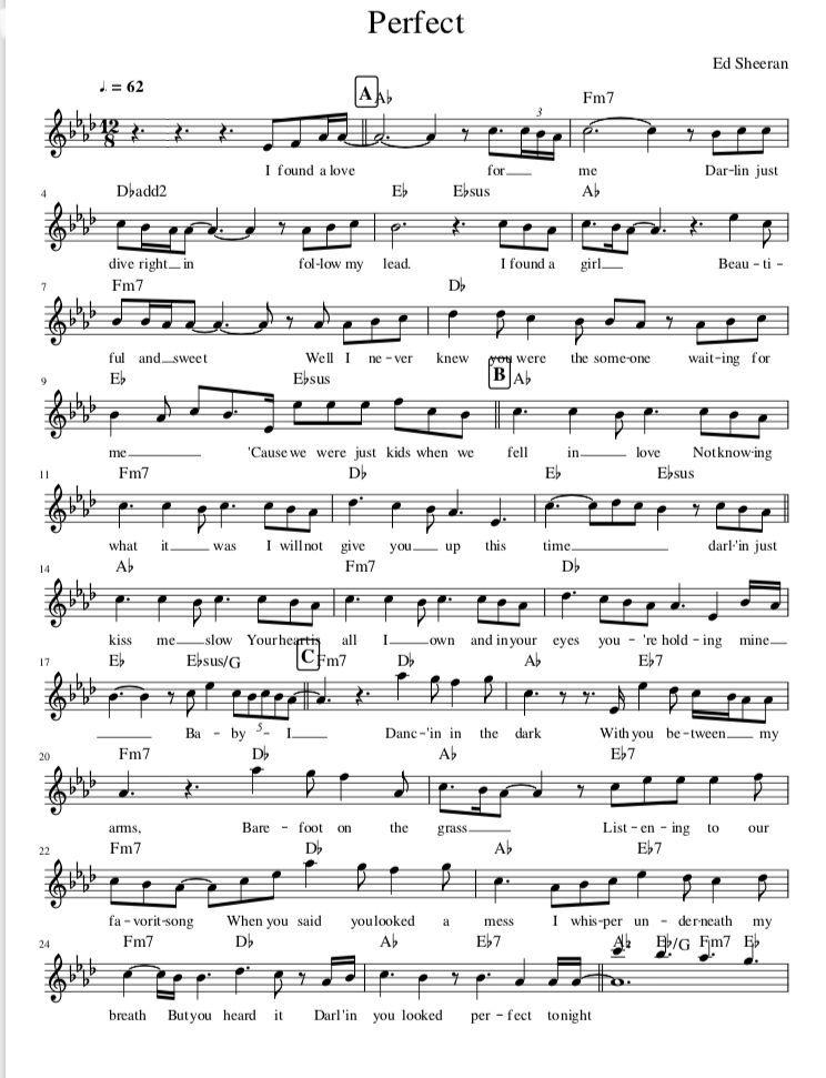Perfect De Ed Sheeran Sheet Music Partitura De Perfect De Ed Sheeran Y Nuestra Versión Para Piano Cello Sheet Music Trumpet Sheet Music Viola Sheet Music