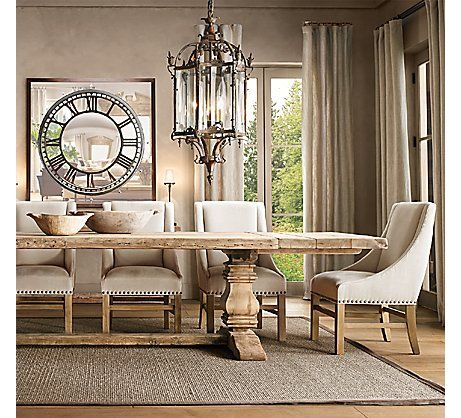 Salvaged Wood Trestle Rectangular Extension Dining Table #restorationhardware