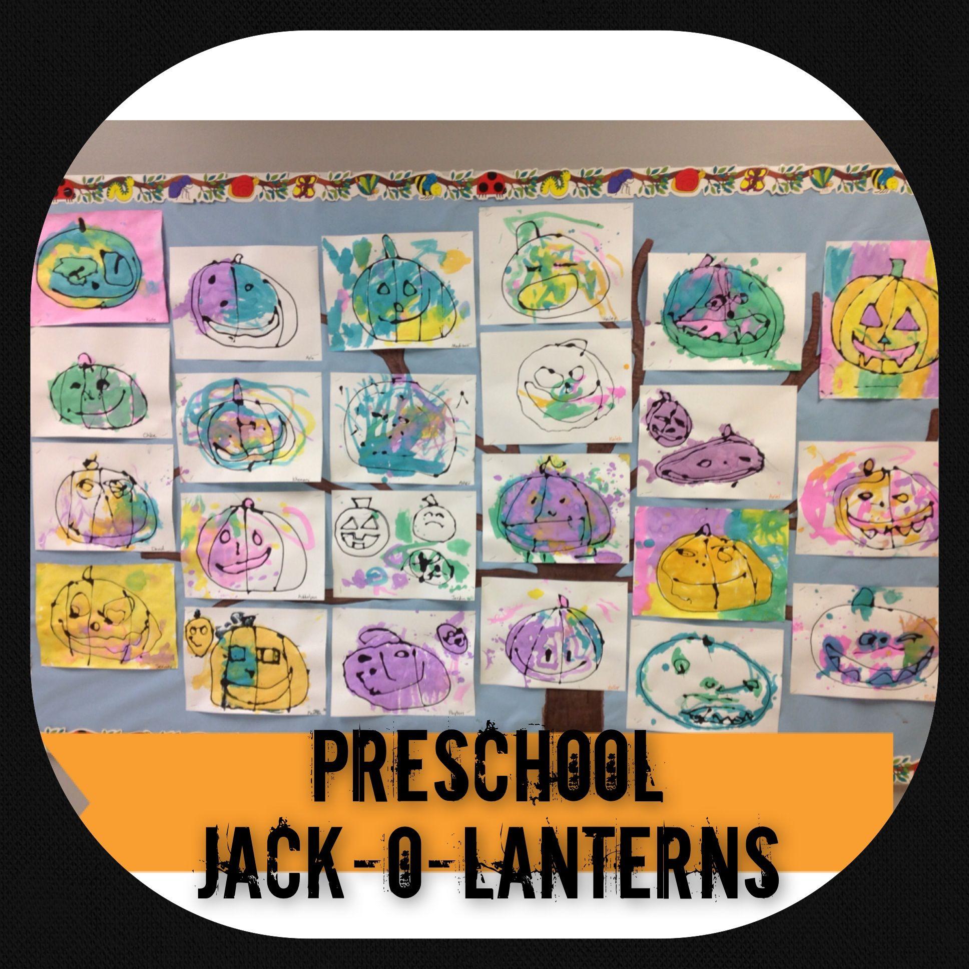 Preschool Pumpkin Jack O Lantern Art Mix A Half Bottle