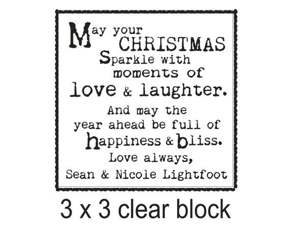 Diy Christmas Cards Saying Custom Rubber Stamp With Cute Holiday The Measures About 3 X And Is Mounted A Clear