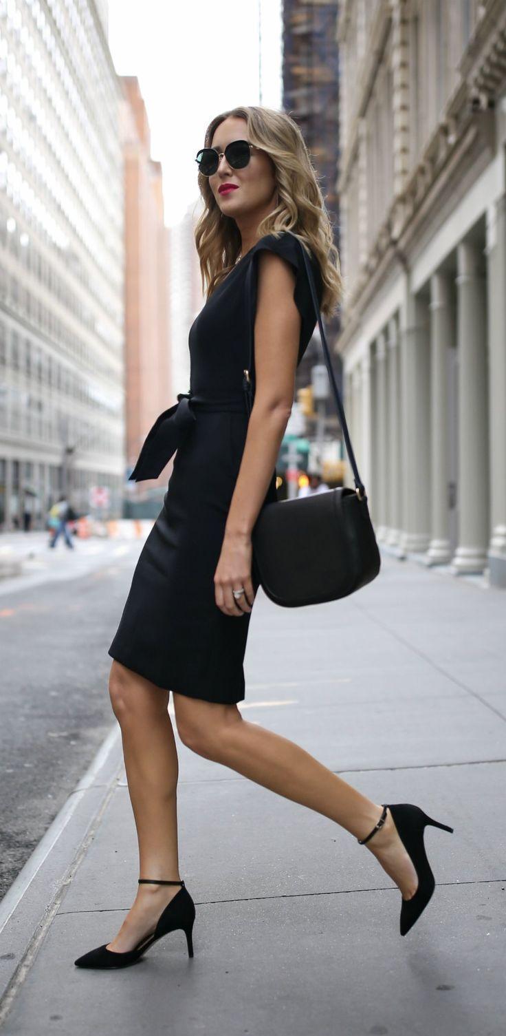 Under 100 Series Classic Black Sheath Dress Ankle Strap Black Pumps Eliza J Sam Edelman Affordab Fashion Black Sheath Dress Womens Fashion Inspiration [ 1505 x 736 Pixel ]