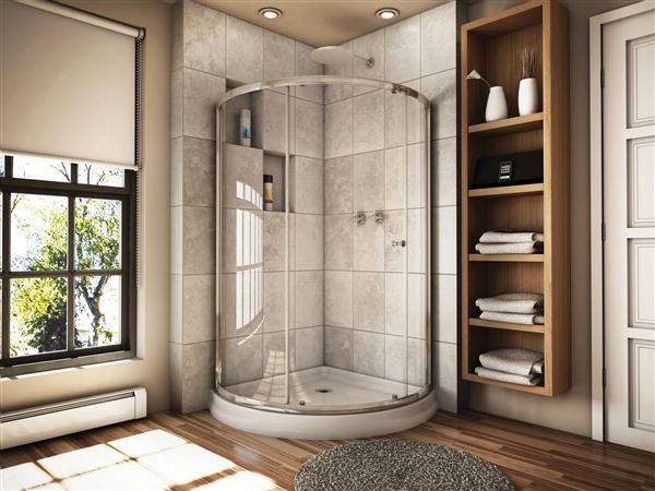 Fleurco Banyo Amalfi 40 Arc 3 Semi Frameless Curved Glass Sliding Shower Door Corner Shower Shower Doors Sliding Shower Door