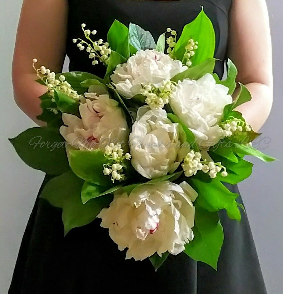 Peony and Lily of the Valley bridal bouquet by