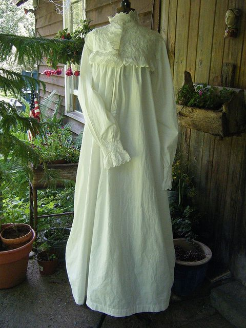 4786072564 Victorian Frilled Nightgown Full Length Front Cosetted