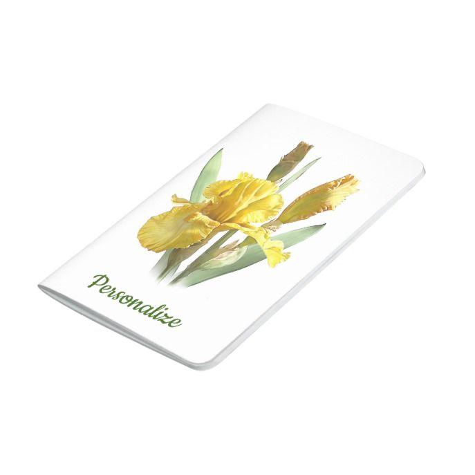 Yellow Iris Flower Journal Custom Office Supplies Business Logo Branding Iris Flowers Journal Iris