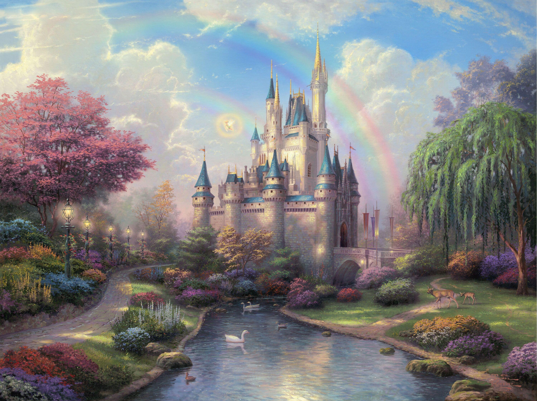 Schloss Wallpapers Hintergrunde 3000x2240 Id 193652 Disney Gemalde Thomas Kinkade Disney Fantasieschloss