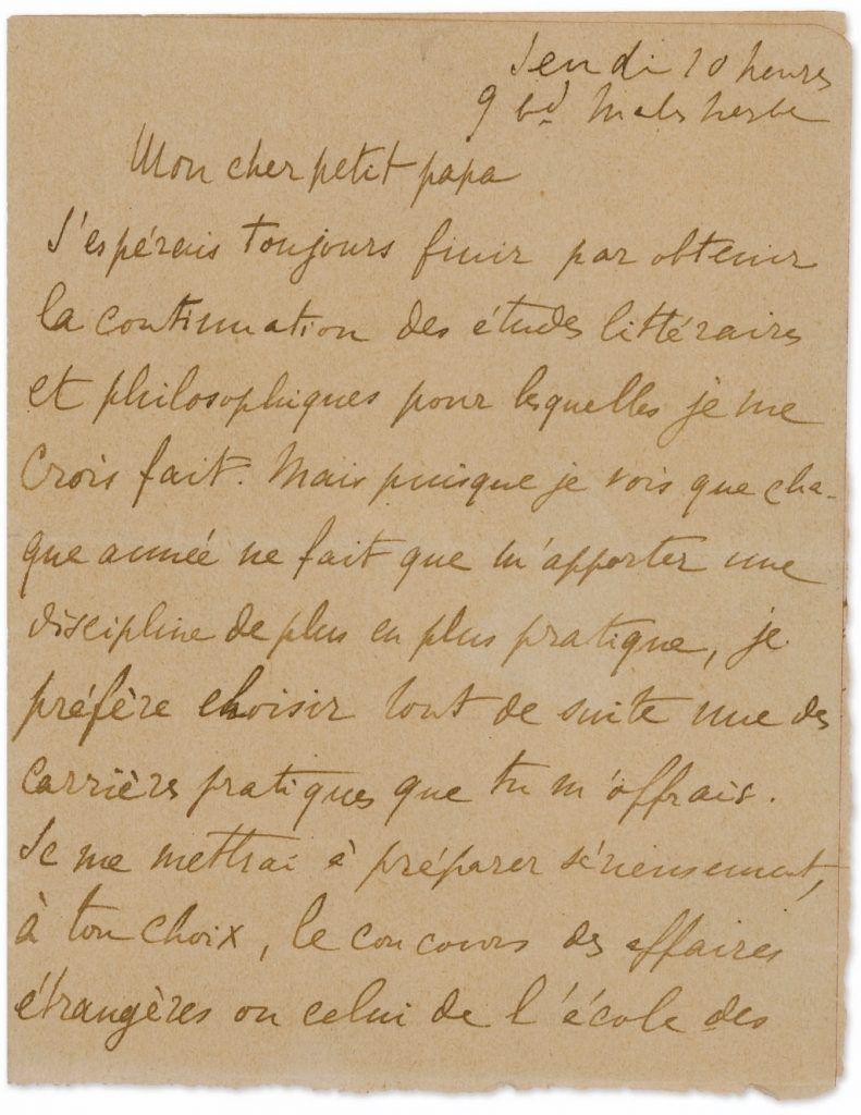 Marcel Proust Lettre à Son Cher Petit Papa Vente Sothebys