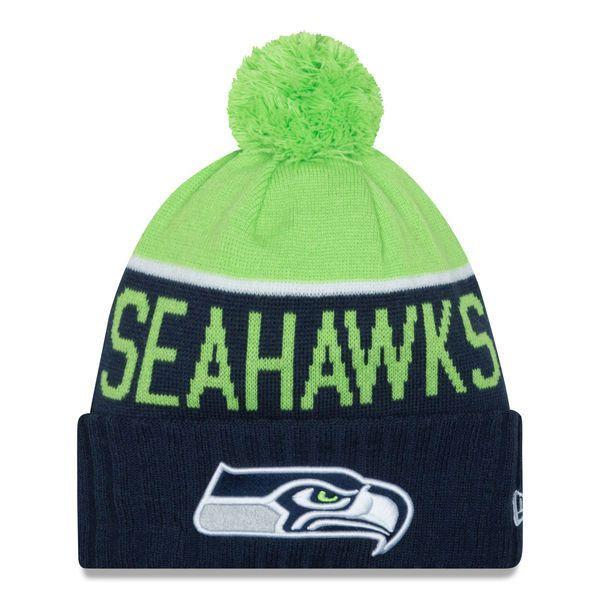 7dd77892a3a52 ... denmark mens seattle seahawks new era navy 2015 on field sport knit hat  with pom d5741