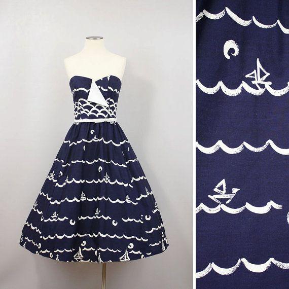 Vintage Sundress Nautical Full Skirt Victor Costa Cotton