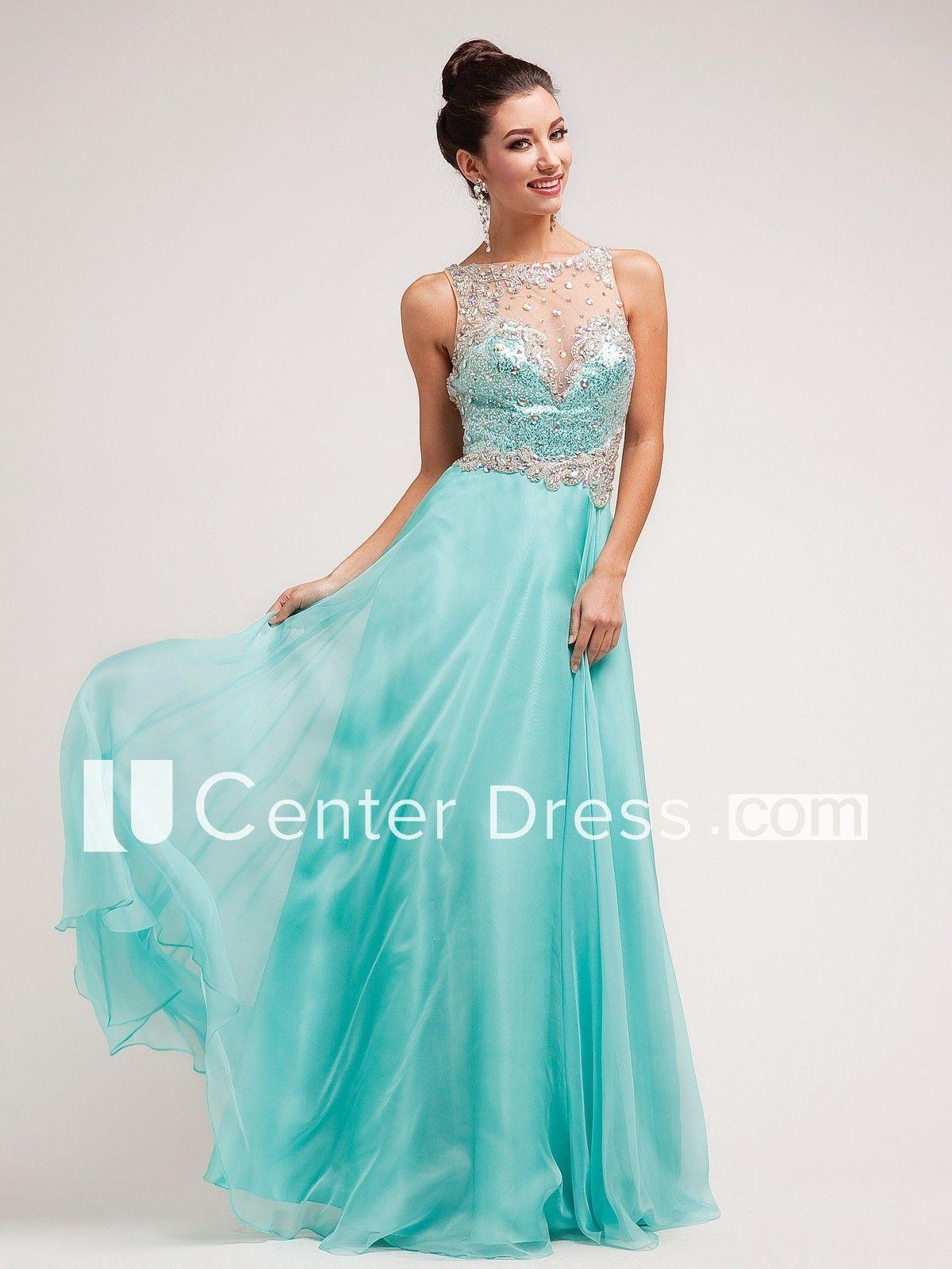 87b58750ed4 A-Line Bateau Sleeveless Satin Illusion Dress With Crystal Detailing ...