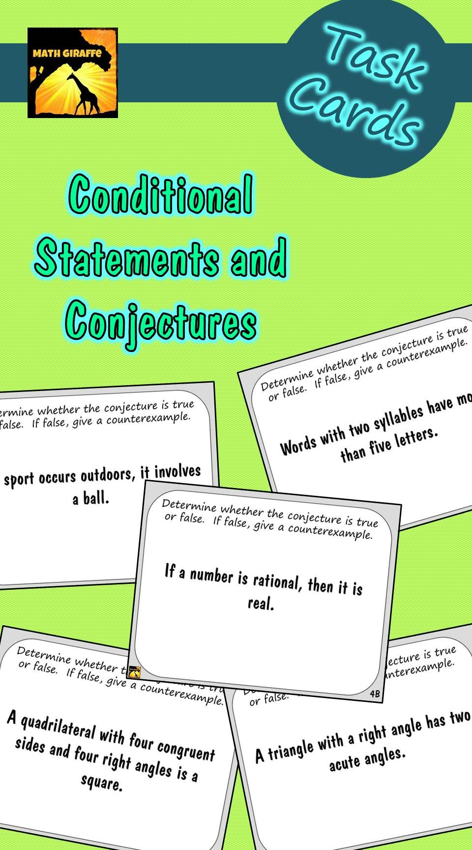 worksheet Converse Inverse Contrapositive Worksheet task cards conditional statements and conjectures converse math activities
