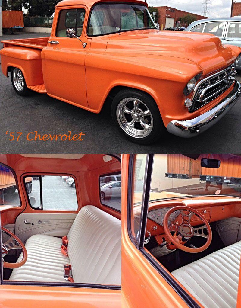 hello orange 57 chevrolet truck headed to la havre musclecars rh pinterest com
