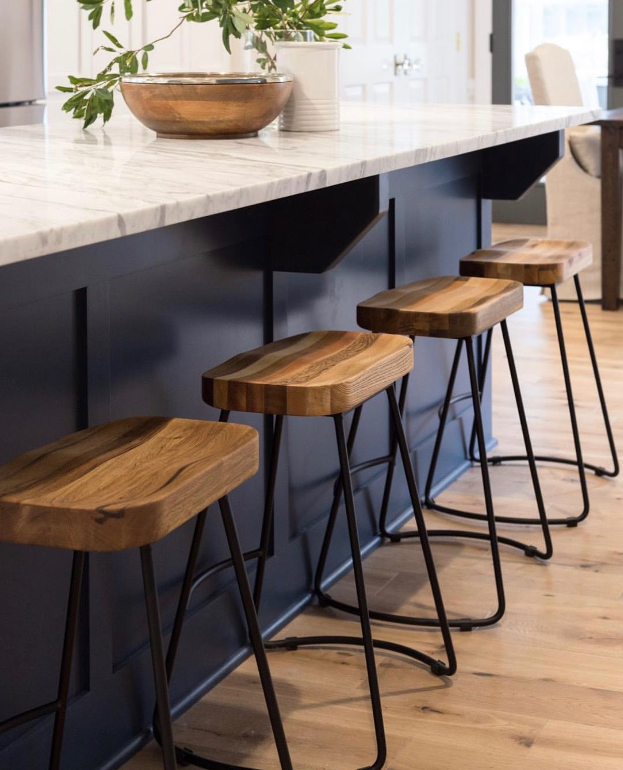 Love The Dark Navy Island Countertop And Those Barstools