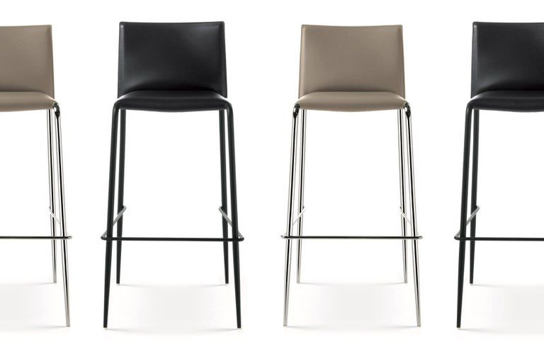Italian Modern Bar Stools Leather And Chrome Or Painted Black Or