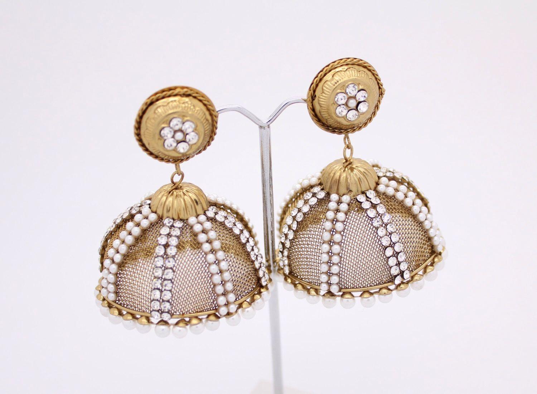 e6c34682b Stunning Lightweight Kundan Diamante Stone Pearl Jhumka Jhumki Drop Dangle  Polki Vintage Indian Chandelier Earrings Bollywood