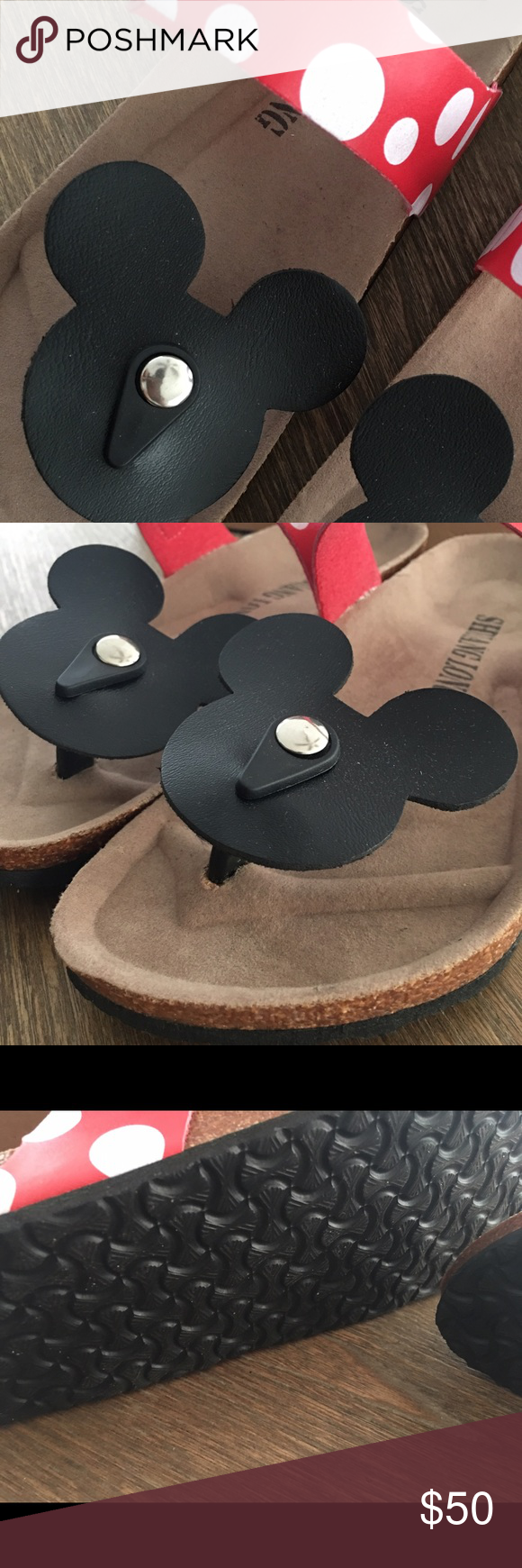 32bc2d4b94e0 Minnie Mouse Disney Birkenstock-ish Sandles New