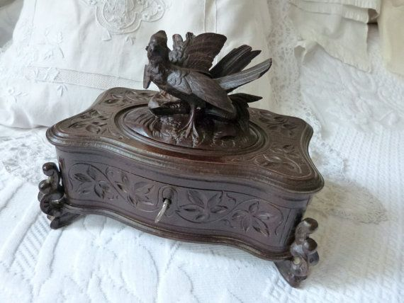 Antique wooden jewelry box wood hand carved box rare 1800s French