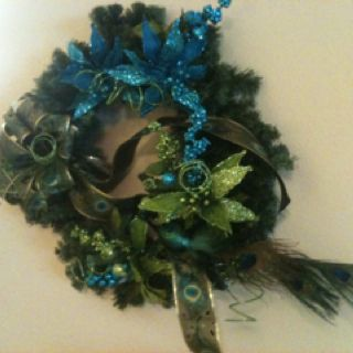 Homemade.. Peacock wreath, all at hobby lobby