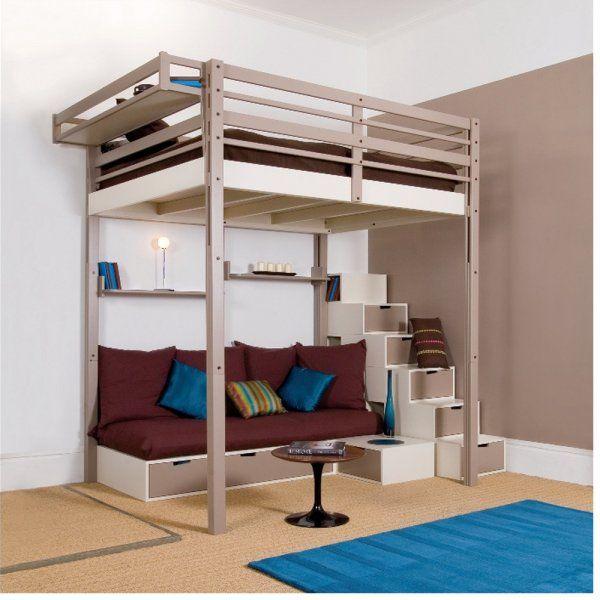 Lit escamotable lequel choisir lit mezzanine 2 - Lit mezzanine 2 places bois ...