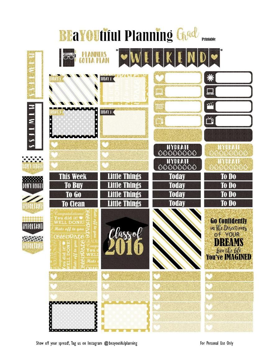 Grad – Free Printable | Planner stickers, Planners and Free printable