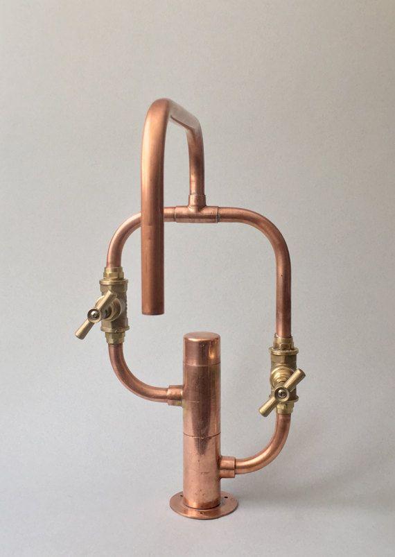 Pedestal Even Deck Mount Industrial Handmade Copper Faucet Avec Images Lampe De Tuyau Robinet Cuivre Douche