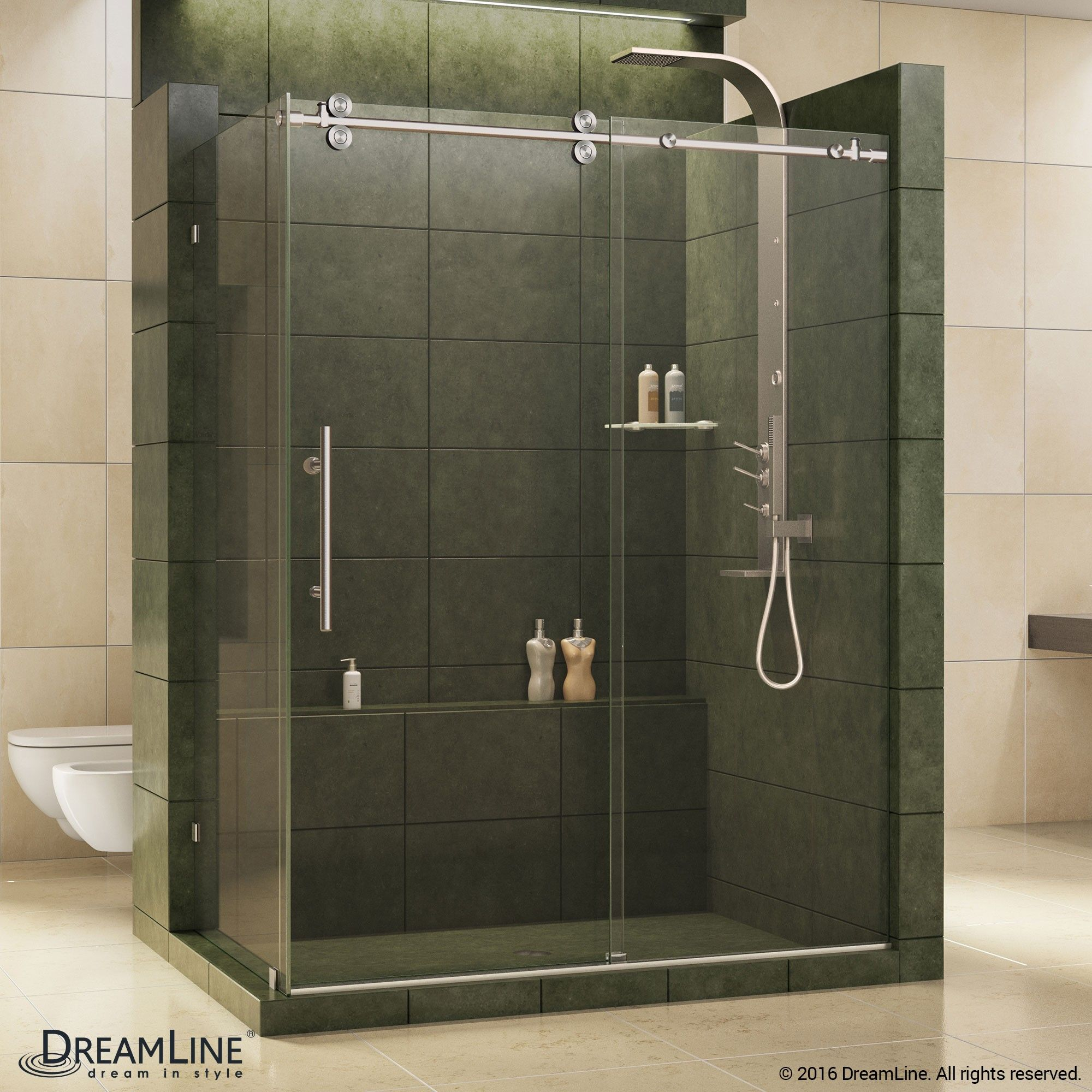 The Dreamline Enigma Is A Fully Frameless Sliding Shower Enclosure Is Stunning With 1 2 In Thick Tempered Sliding Shower Door Steel Shower Door Shower Doors