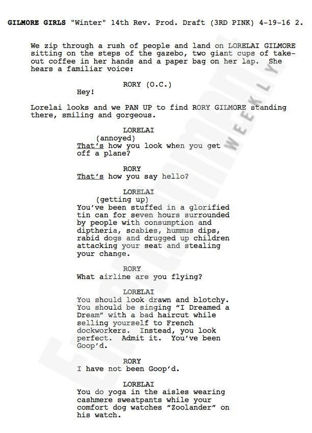 Gilmore Girls See The First Page Of The Reboot Script  Girls