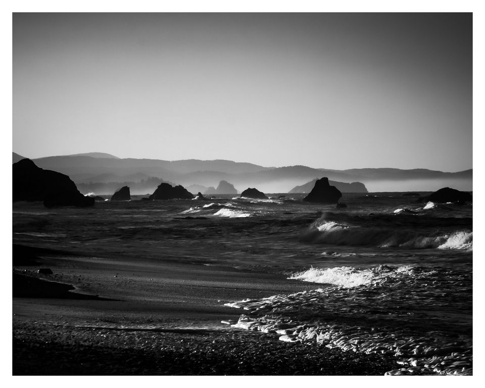 """""""Waves crash on distant shores, another time another place, and echo like memories in my mind.""""  -Song of Sea   Print: High contrast black and white 8X10 of dawn breaking over Brookings, Oregon.  Please share!!!! :) Follow me on Facebook at: http://www.facebook.com/AventineImages  ps  More Aventine Images at: Twitter: https://twitter.com/AventineImages Flicker: http://www.flickr.com/photos/aventineimages/ DeviantArt: http://aventine-images.deviantart.com/"""