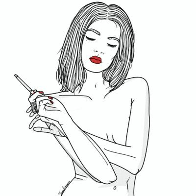 drawings smoking Tumblr girl
