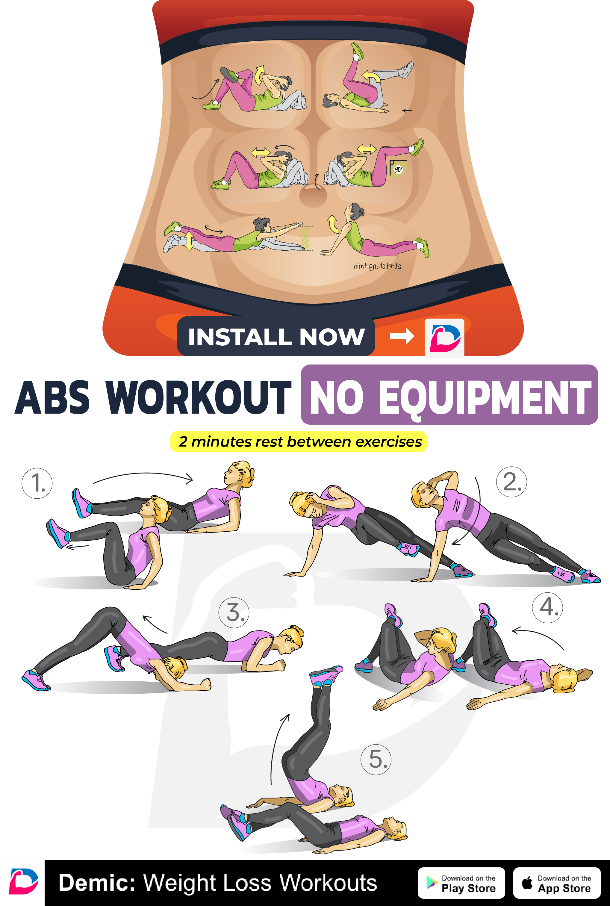 ABS Workout No Equipment! | Demic: Fitness | Workout, Fitness, Exercise