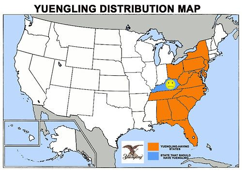 U.S. Yuengling Beer Distribution Map | Maps and Landscapes
