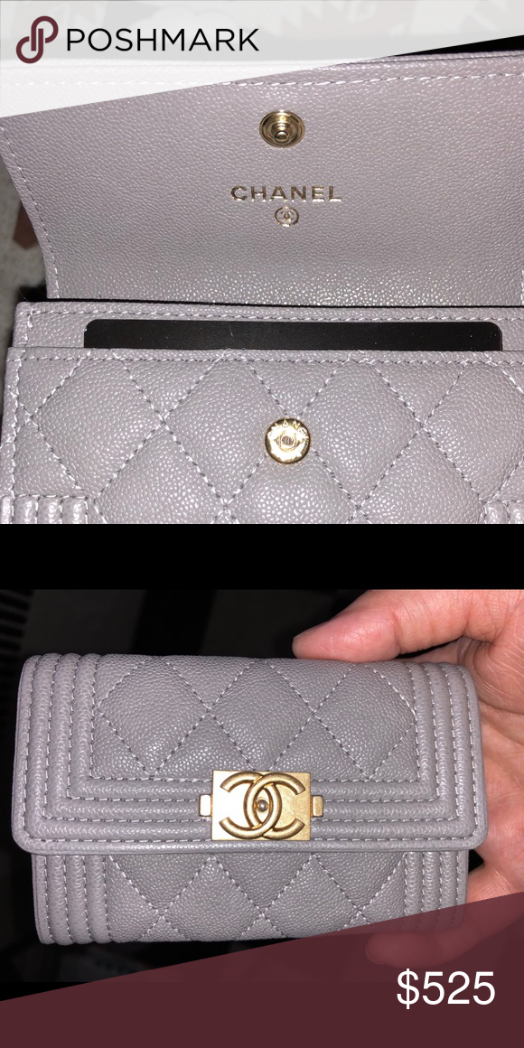 a8f5b9a7b2eae0 Authentic Boy Chanel Card Holder - BNIB Gray caviar leather boy Chanel card  holder with gold hardware. Brand new in box with ribbon and camellia flower.