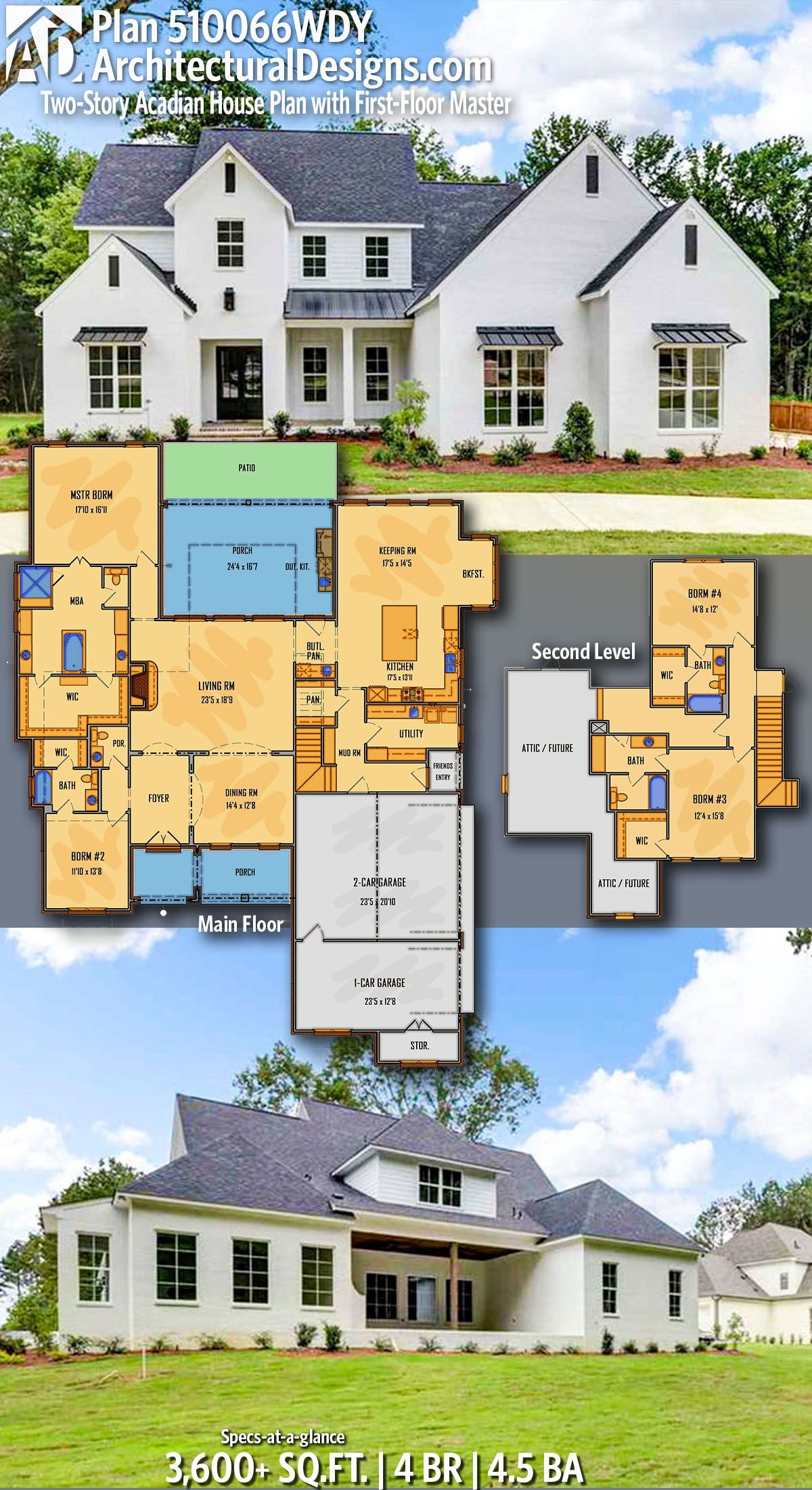 Plan 510066wdy Two Story Acadian House Plan With First Floor Master Acadian House Plans House Plans Architecture Design