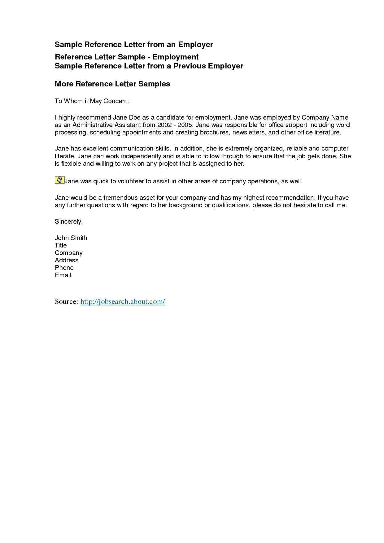 The Interesting Reference Letters Freereference Letter Examples
