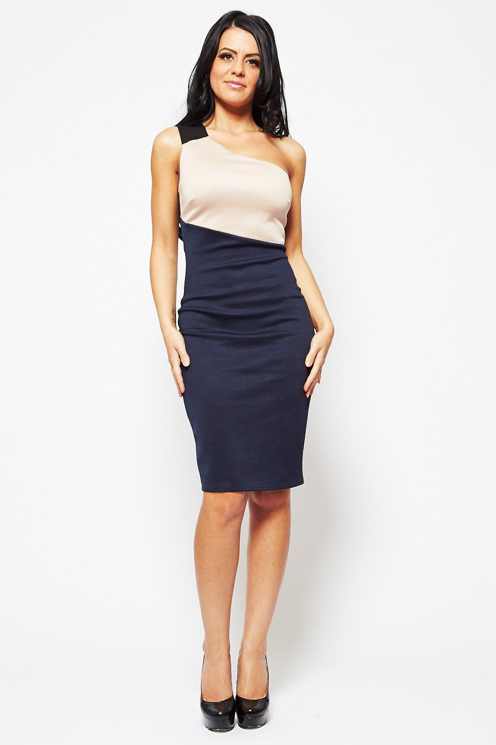 Navy Blue Pencil Dress Alexa navy beige one shoulder  Midi ...