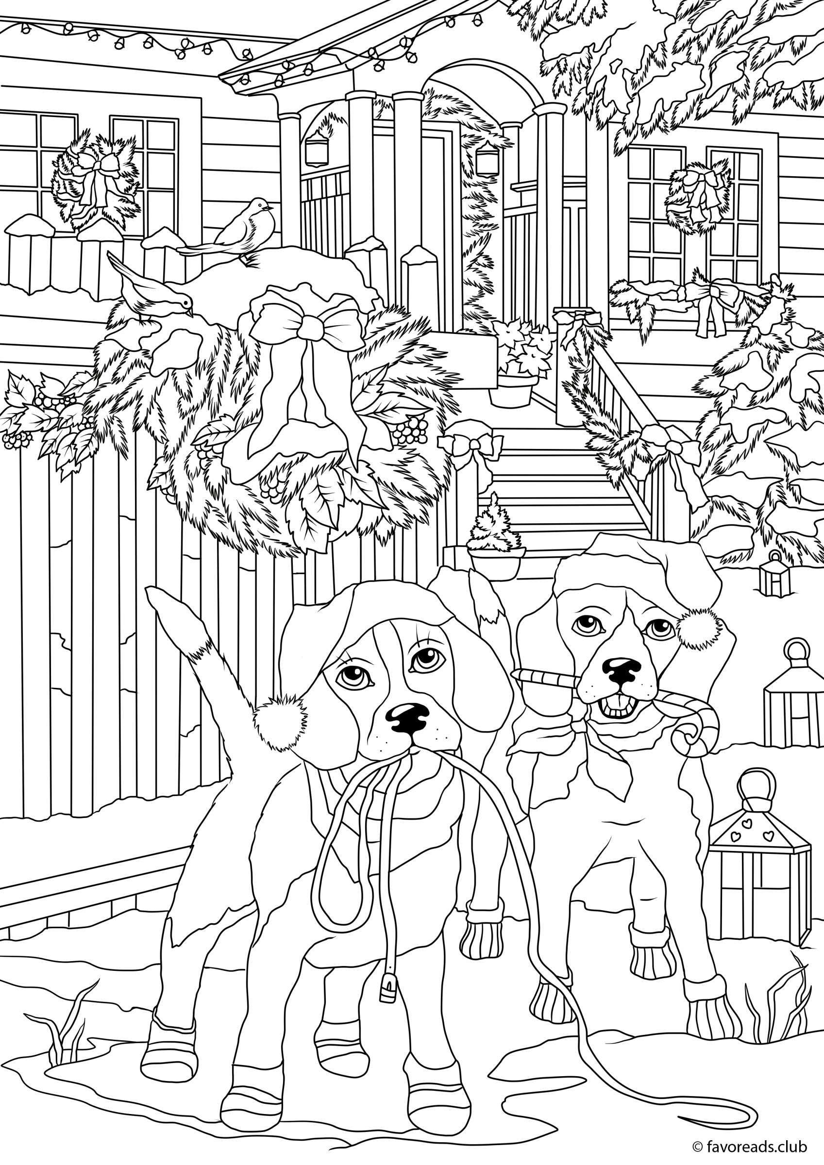 Favoreads Winter Dogs 1413 Jpg 1697 2400 Free Christmas Coloring Pages Christmas Coloring Pages Printable Christmas Coloring Pages