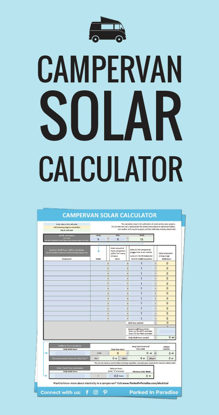Solar Panel Calculator Diy Wiring Diagrams Eppy The Van Caravan Diagram With How Many Panels Do You Need Calculate Your Campervan System Via Parkedinparadise