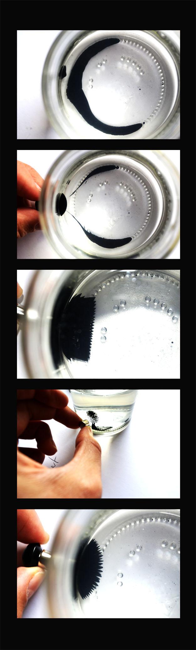 FerroFluid- various faces - Magnetism of liquid nano-particles