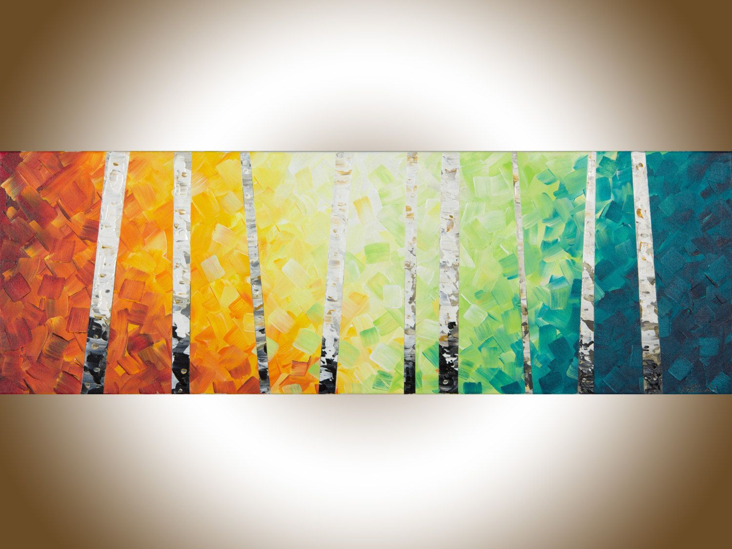 Rainbow Color Birch art birch tree painting narrow art painting on ...