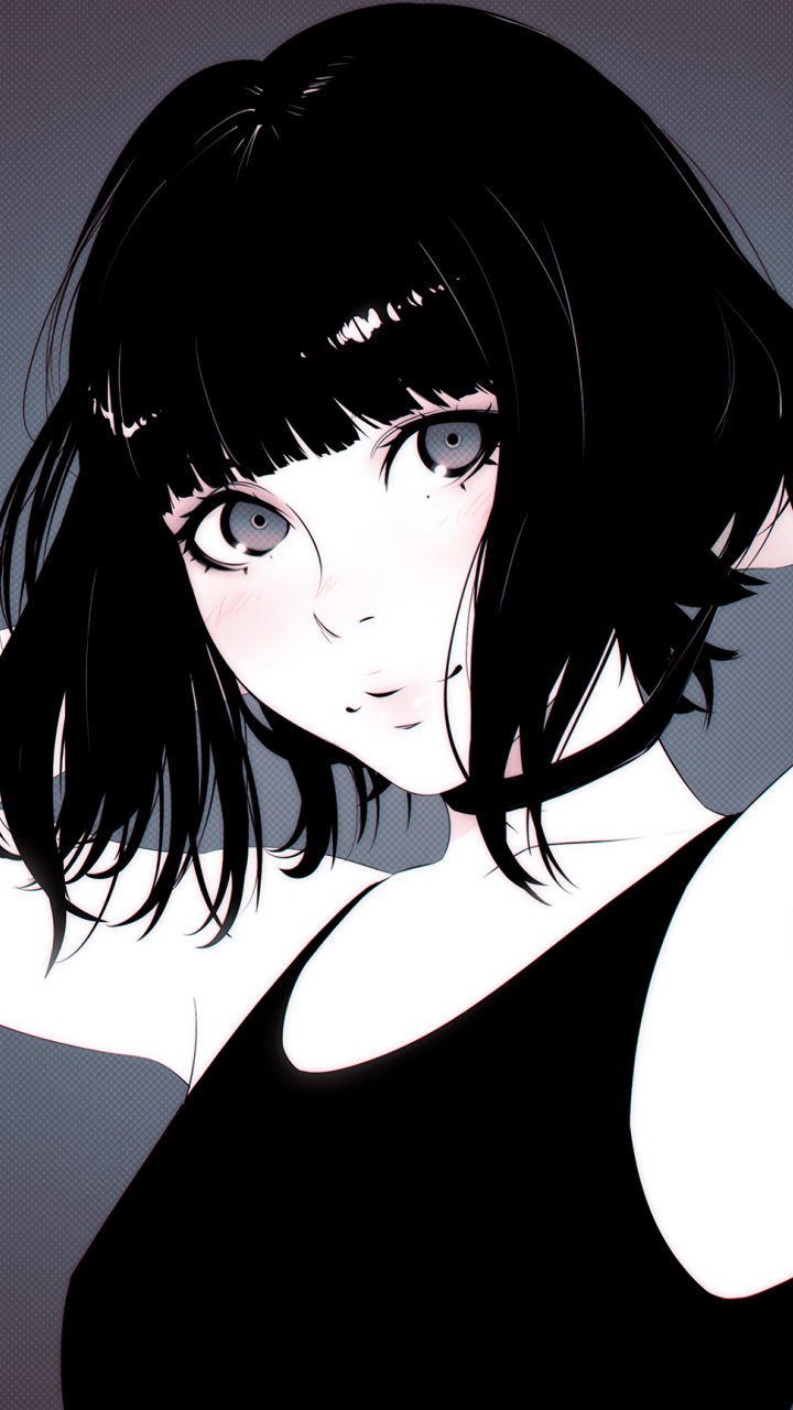 Girl Dark Hair Short Digital Artwork Stare 720x1280 Wallpaper Anime Art Aesthetic Anime