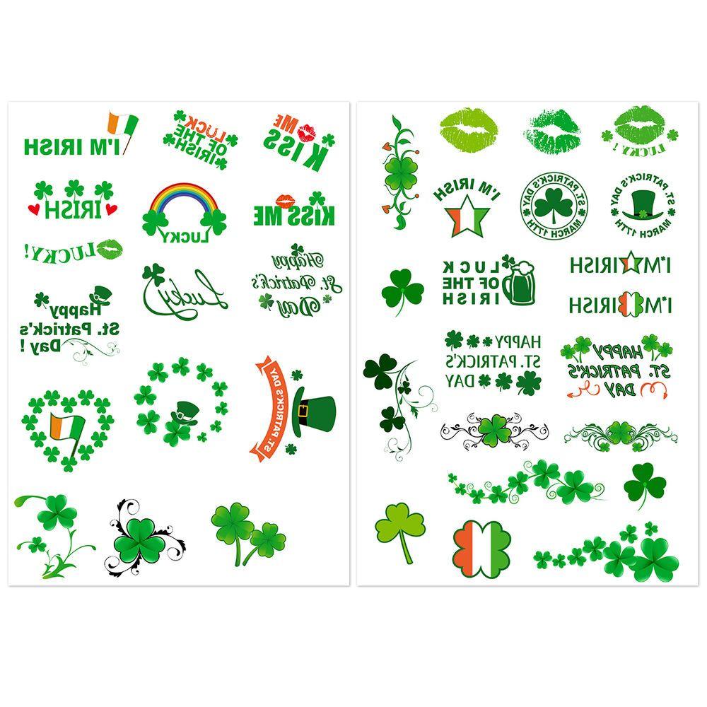 Shamrock Temporary Tattoos 8 Sheet Irish St Patricks Day Green Nuolux St Patricks Day Fun Games For Kids Irish Saints