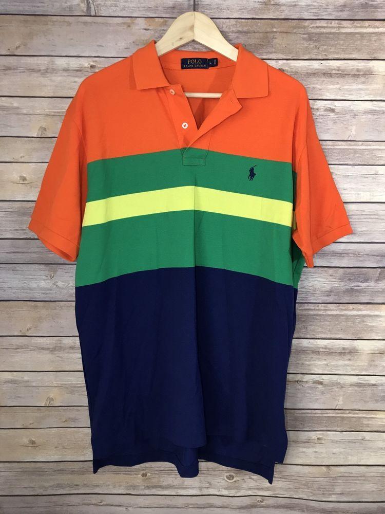 a9b06342 Men's POLO RALPH LAUREN Bright Striped Neon Golf Short Sleeve Polo Shirt Sz  L   Clothing, Shoes & Accessories, Men's Clothing, Casual Shirts   eBay!