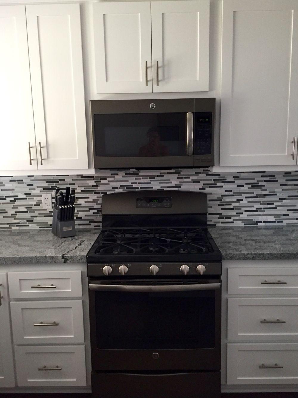 Gray and white kitchen, slate appliance, gray granite