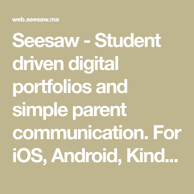 Seesaw Student driven digital portfolios and simple
