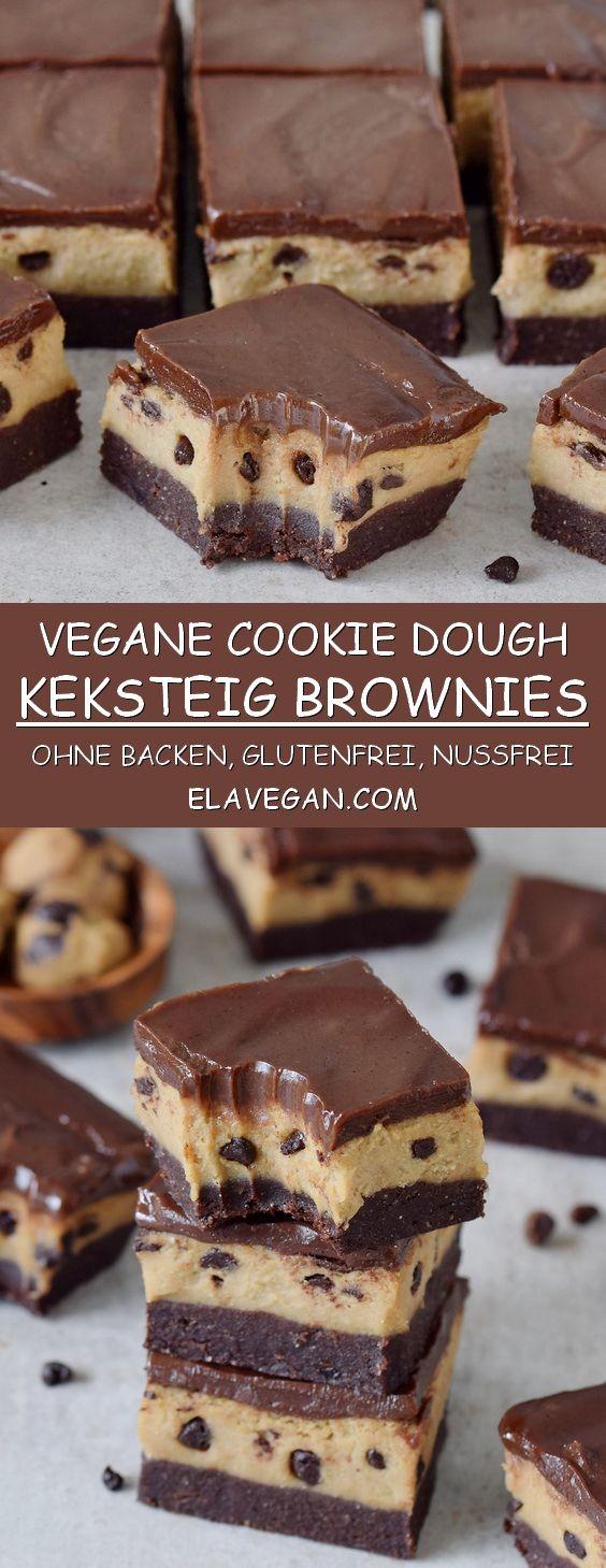 Diese Cookie Dough Brownies mit einer cremigen Keksteigschicht und selbstgemachter Schokolade sind ein wundervolles Dessert! Das Rezept ist vegan, glutenfrei, nussfrei, frei von raffiniertem Zucker und proteinreich. #vegan #glutenfrei #cookiedough #keksteig #dessert #schokolade | elavegan.com/de #glutenfreierezepte