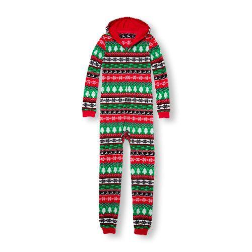 Baby Girls Adult Long Sleeve Holiday Fair Isle Print Hooded ...