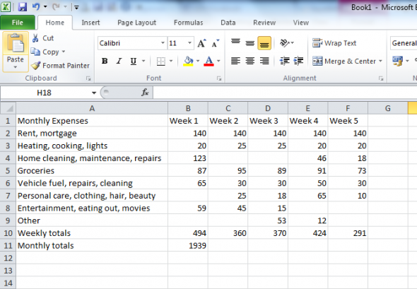 How To Format An Excel Spreadsheet  Household Budget Spreadsheet