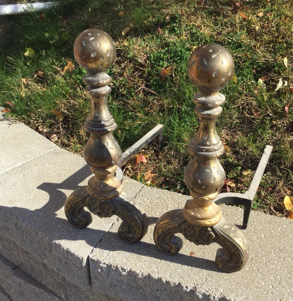 Antique Ball Top Fireplace Andirons Fire Dogs Victorian Scroll Feet Metal 3718 Fireplace Andirons Antiques Victorian
