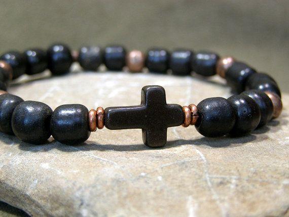 Mens Bracelet Black Cross Jewelry Rustic Stretch Set Beaded