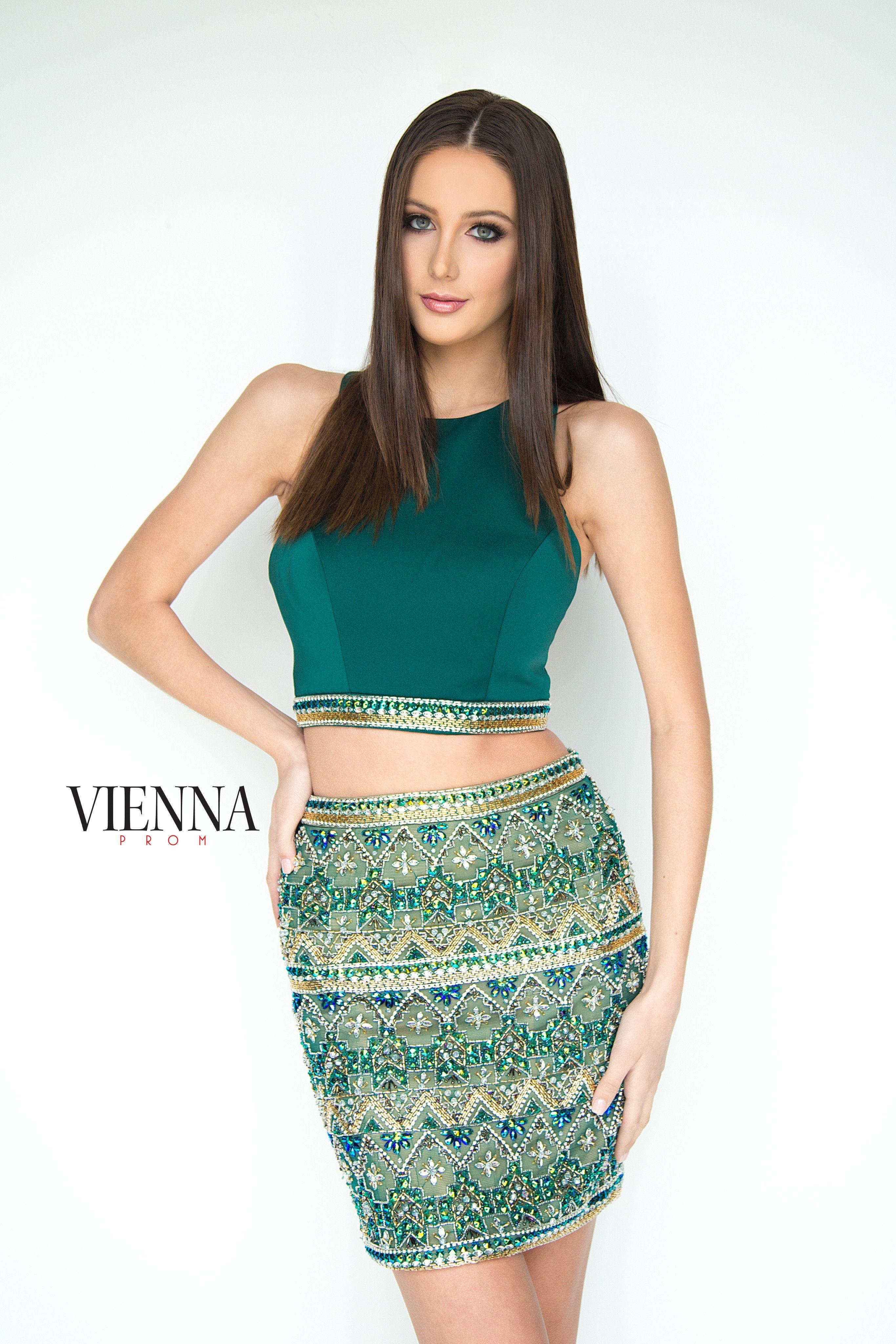 Vienna Prom 6087 Emerald Beaded Two Piece Short Dress Two Piece Short Dress Short Dresses Cute Dresses [ 4096 x 2731 Pixel ]